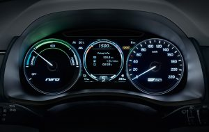 Cuentakilómetros y detalles del interior del nuevo Kia Niro